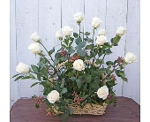 White Rose Basket in Templeton CA, Adelaide Floral
