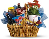 Dad's Play Ball Snack Basket by Teleflora in Manalapan NJ, Rosie Posies