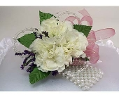 Three Mini Carnation Corsage - White in Indianapolis IN, Gillespie Florists