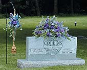 Shepard''s Hook/Blue & Lavender Monument Spray in West Bloomfield MI, Happiness is...Flowers & Gifts
