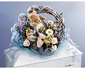 Blue & Ivory Faux Basket Casket Spray in West Bloomfield MI, Happiness is...Flowers & Gifts