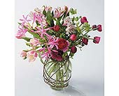 Pink Vase Arrangement in West Bloomfield MI, Happiness is...Flowers & Gifts