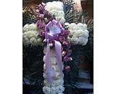 Cross with lavender roses in Staten Island NY, Eltingville Florist Inc.
