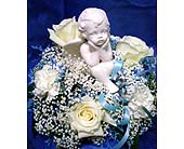 Cherub on a cloud in Rock Island IL, Colman Florist