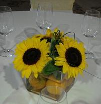 Yellow Sunflower Centerpiece in Cerritos CA, The White Lotus Florist