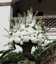 White Hydrangea and Rose Altar Piece in Cerritos CA, The White Lotus Florist