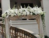 White Hydrangea and Rose Archway in Cerritos CA, The White Lotus Florist