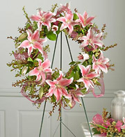 Lily Memorial Wreath in Homer NY, Arnold's Florist & Greenhouses & Gifts