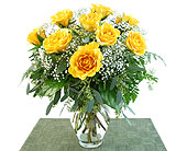 Deluxe Yellow Roses Vased in Southfield MI, Thrifty Florist