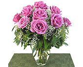 Deluxe Lavender Roses Vased in Southfield MI, Thrifty Florist