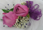 LAVENDAR ROSE CORSAGE W/ GEMS in Ossining NY, Rubrums Florist Ltd.