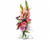 Teleflora's Bear Hug Bear with Pink Roses in Milford MA, Francis Flowers, Inc.