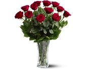A Dozen Premium Red Roses in Inverness FL, Flower Basket