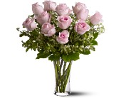 A Dozen Pink Roses in Wallingford CT, Barnes House Of Flowers