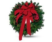 Wreath with Red Velvet Bow in New York NY, Fellan Florists Floral Galleria