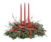 Candle Trio Centerpiece in Fort Erie ON, Crescent Gardens Florist