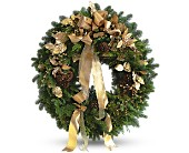 Golden Evergreen Wreath in Old Bridge NJ, Old Bridge Florist