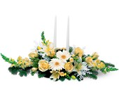 Two White Taper Centerpiece in Oakville ON, Heaven Scent Flowers