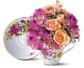 Pink Roses Teacup Bouquet in Syracuse NY, Sam Rao Florist