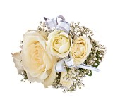 White Ice Roses Wristlet in Timmins ON, Timmins Flower Shop Inc.