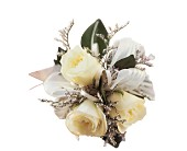 3 White Mini Roses Wristlet in Hamilton ON, Joanna's Florist