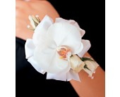 White Orchid and Roses Wristlet in Orlando FL, Harry's Famous Flowers