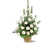 White Simplicity Basket in Largo FL, Rose Garden Florist