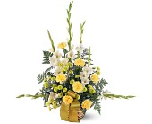Vibrant Yellow Basket in Hilton NY, Justice Flower Shop