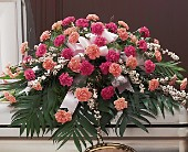 Delicate Pink Casket Spray in Hilton NY, Justice Flower Shop