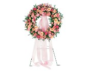 Respectful Pink Wreath in Union City, California, ABC Flowers & Gifts