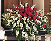 Cherished Moments Casket Spray in Bluffton, South Carolina, Old Bluffton Flowers And Gifts