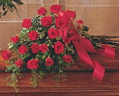 Red Rose Tribute Casket Spray in Big Rapids MI, Patterson's Flowers, Inc.