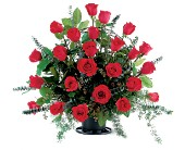 Blooming Red Roses Basket in Seattle WA, Topper's European Floral Design