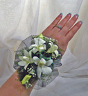 Net Backed Dendrobian Orchid Wrist Corsage in Royersford PA, Three Peas In A Pod Florist