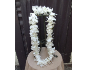 Single White Dendrobium Orchid Lei $30 in West Los Angeles CA, Westwood Flower Garden