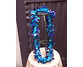 Single (dyed) Blue Bombay Orchid Lei $25 in West Los Angeles CA, Westwood Flower Garden