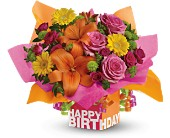 Teleflora's Rosy Birthday Present - Deluxe in Ammon ID, Petal Passion