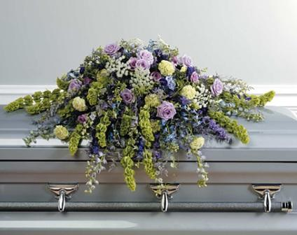 Soft and Full Casket Spray in Waterbury CT, The Orchid Florist