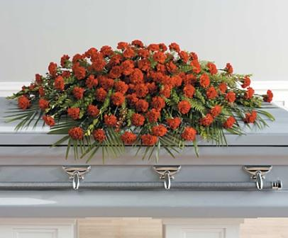 Carnation Casket Spray in Waterbury CT, The Orchid Florist