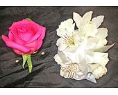 Hot Pink Rose Boutonniere and White Corsage in West Los Angeles CA, Westwood Flower Garden