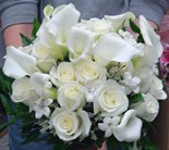 White Roses and White Mini Callalillies Bridal Bou in Nutley NJ, A Personal Touch Florist