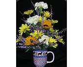 polish pottery mug , dog design in Warrenton VA, Village Flowers