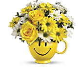 Teleflora's Be Happy Bouquet with Roses in Batesville IN, Daffodilly's Flowers & Gifts