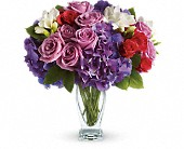 Teleflora's Rhapsody in Purple in Amherst NY, The Trillium's Courtyard Florist