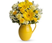 Teleflora's Sunny Day Pitcher of Cheer in Rush NY, Chase's Greenhouse