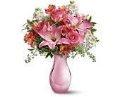 Teleflora's Pink Reflections Bouquet with Roses in Redwood City CA, A Bed of Flowers