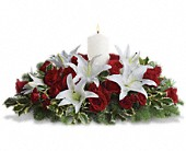 Luminous Lilies Centerpiece in Chillicothe IL, Picket Fence Floral, Gift and Garden Center