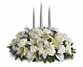 Silver Elegance Centerpiece in Lewiston, Maine, Val's Flower Boutique, Inc.