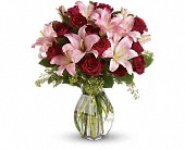 Lavish Love Bouquet with Long Stemmed Red Roses in Pella IA, Thistles