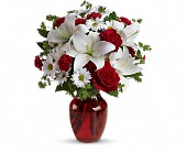 Be My Love Bouquet with Red Roses in Ukiah CA, Rain Forest Fantasy